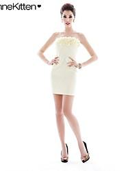 Vestido ajustado decoración de flores estéreo imperio cuello sin tirantes atractivo de la mujer joannekitten®
