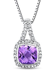 Women's Classic Sterling Silver with Amethyst and Diamond Necklace