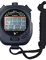 60 Memories 1/100s 3 Line 23 Digit 10h Countdown Time & Calendar Digital Stopwatch for Sports LEAP PC3860