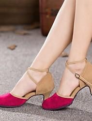 Chaussures de danse (Noir/Bleu/Marron/Vert/Rose) - Non personnalisable - Talon Large - Suédé - Moderne