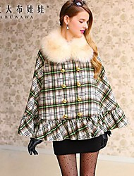 Pink Doll® Women's Green and Yellow Check Woolen Cape Coat