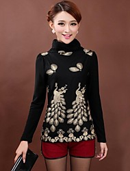 Women's Print Red/Black/Green Blouse , Turtleneck Long Sleeve Embroidery