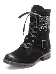 Zapatos de mujer - Tacón Bajo - Punta Redonda - Botas - Vestido - Ante - Negro / Marrón