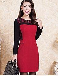 Women's Long Waist Was Thin Wool Dress