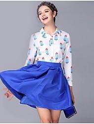 impressão sorvete de manga comprida camisas das mulheres