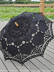 "Wedding / Beach / Daily / Masquerade Lace / Cotton Umbrella Black 26""(Approx.66cm) Metal / Wood 30.7""(Approx.78cm)"