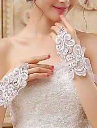 Wrist Length Fingerless Glove Lace/Voile Bridal Gloves