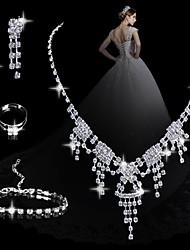 moda diamante conjuntos das mulheres geométricas: colar brincos pulseira e anel (venda julgamento; ações: 1)