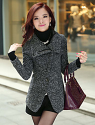 cuello solapa color sólido abrigo de lana