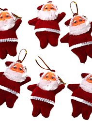 6 PCS Mini Santa Claus Shaped Christmas Tree Hanging Decoration - Red (6 PCS)