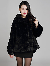 Fur Coat Long Sleeve Standing Faux Mink Fur Special Occasion/Casual Coat
