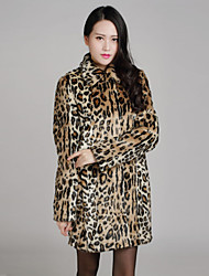 Fur Coat Long Sleeve Turndown  Faux Mink Fur Special Occasion/Casual Coat