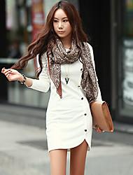Women's Long Sleeve White Black Grey Dress