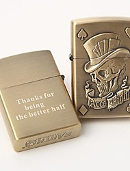 Personalized Engrave Gold  Metal Oil Lighter - Skull