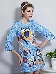 um vestido retro impressão coruja das mulheres