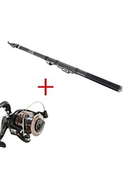 2.1M Telescopic Carbon Rod Sea Fishing Pole Fishing Rod & Reel Combos Fishing Reel DE40 Spinning Fishing Reels