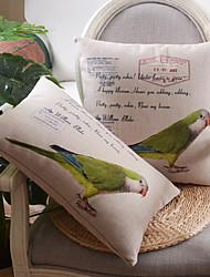 Conjunto de 2 padrão papagaio verde de algodão / linho fronha decorativo