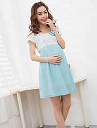 Maternity Cute Bow High Waist Lace Chiffon Summer Dress