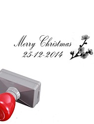 Personalized 33x63mm Christmas Wintersweet Flower 2 Lines Rectangle Engraved Photosensitive Signet Stamp(14 Letters)