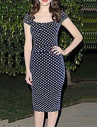 hebe Damen Kurzarm schlanke Mode runden Kragen Polka Dots Kleider