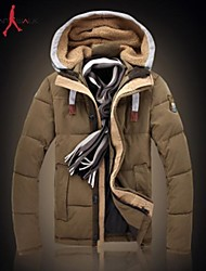 MANWAN WALK®Men's Casual Slim Thick Down Jacket.Removalbe Hood with Unique Labelling Coat.Size L-3XL!