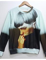 Cranberry Men's Fashion 3D Print Long Sleeve Fleece Tshirt Man