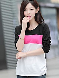 Women's Color Block Blue/Black/Yellow/Gray T-shirt , Casual Round Neck Long Sleeve