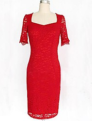 Women's Elegant Crochet Bodycon Cocktail Tunic Sheath Dress