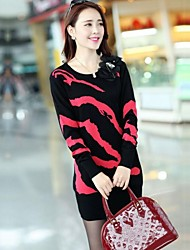 Women's Red/Black Pullover/Cashmere , Vintage/Casual/Print Long Sleeve