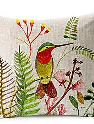 aves e algodão floral / fronha decorativo linho