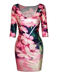 planta de poliéster de las mujeres dice pinkqueen® vestido estampado de media manga