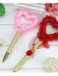 Wedding Heart Ribbon Guest Book Pen Sign In Book Coral Wedding