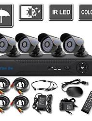 yanse 4ch D1 в реальном времени видеонаблюдения DVR комплект ИК цвета камеры систем безопасности Водонепроницаемая камера 725d04