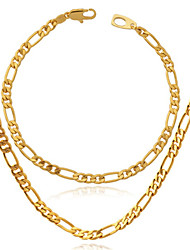 U7 High Quality 18K Chunky Gold Filled Figaro Chain Necklace Bracelet or 4MM,22 Inches 55CM