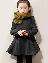 vestido de cuello redondo de color sólido dulce niña de manga larga