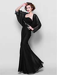 Trumpet/Mermaid Plus Sizes Mother of the Bride Dress - Black Floor-length 3/4 Length Sleeve Chiffon