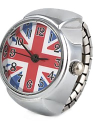 Women's UK Flag Pattern Silver Alloy Quartz Ring Watch