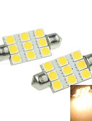 41 milímetros (sv8.5-8) 3w 9x5054smd 160-180lm 3000-3500K luz branca quente levou lâmpada para lâmpada de 2pcs placa do carro (dc12-16v)