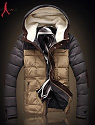 MANWAN WALK®Men's Casual Slim Patchwork Down Jacket.Thick Warm Hooded Cotton-padded Coat.Size L-3XL!