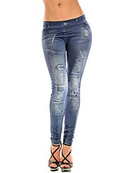 Women Print/Denim Legging , Denim Thin