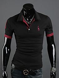 de los hombres Bigman manga larga temperamento cuello solapa fina de la moda camisetas