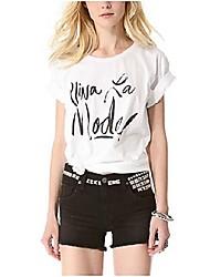 женская круглый collare почерк печатных отдых с коротким рукавом футболки