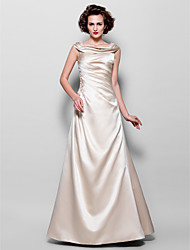 LAN TING BRIDE A-line Plus Size Petite Mother of the Bride Dress - Vintage Inspired Floor-length Sleeveless Satin withAppliques Beading