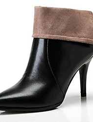 Women's Shoes Fashion Boots Pointed Toe Stiletto Heel Leather Ankle/Mid-Calf Boots (Two Ways available)
