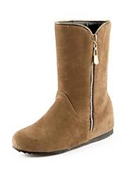 Women's Shoes Faux Suede Spring / Fall / Winter Fashion Boots Dress Wedge Heel Zipper Black / Brown / Yellow