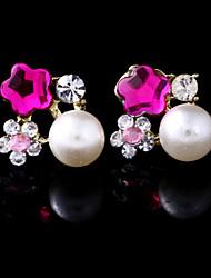 Five Leaves and Flowers of Plum Crystal Rhinestone Pearl Earring