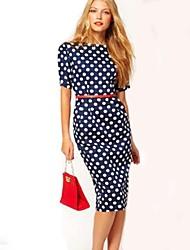 Women's Polka Dot Blue Dress , Print Bateau Short Sleeve