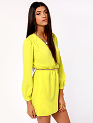 Daisy Women's Solid Color V Neck Long Sleeve Chiffon Dress