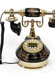 Europe Style Retro Ceramic Home Decor Telephone with ID Display, Classical Black