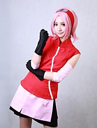 Inspired by Naruto Sakura Haruno Anime Cosplay Costumes Cosplay Suits Patchwork Red Sleeveless Coat / Skirt / Shorts / Armlet / Gloves